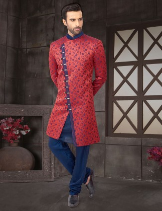 Red cotton silk fabric printed indo western