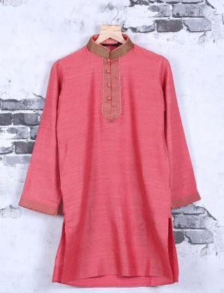 Red cotton silk festive wear kurta suit