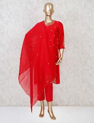 Red cotton silk punjabi pant suit