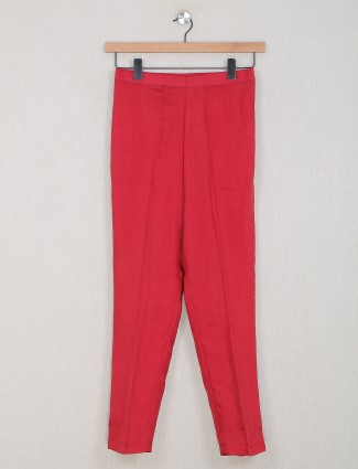 Red cotton solid pyjama for women