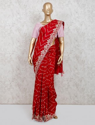 Red dola silk saree for parties