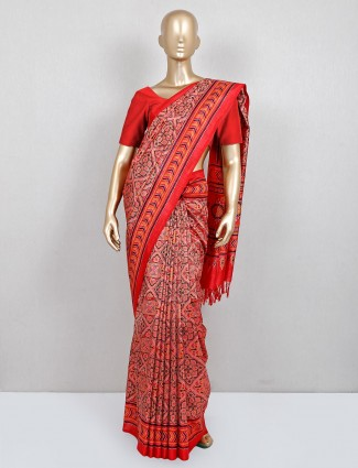 Red festive wear saree for women