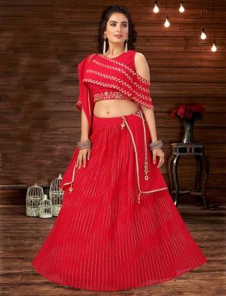 Red georgette desinger silk lehenga choli