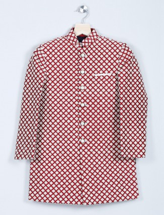 Red georgette indo western for boys