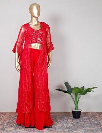 Red georgette wedding sharara suit