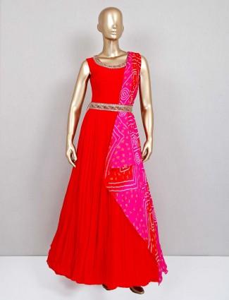Red georgette wedding wear gown