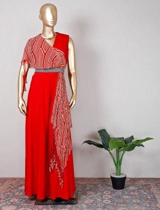 Red georgette wedding wear indo western suit