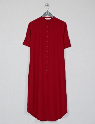 Red hue cotton kurti for womens