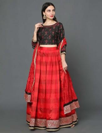 Red hue kora silk wedding wear lehenga choli