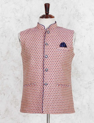 Red hue printed cotton festive waistcoat