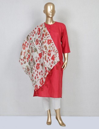 Red linen casual wear pant suit