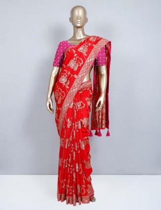Red muga silk designer wedding saree