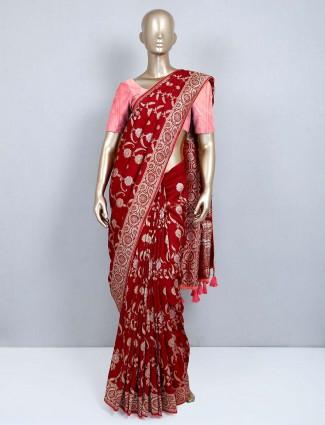 Red muga silk latest wedding wear saree