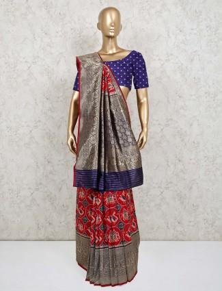 Red patola silk saree for wedding wear