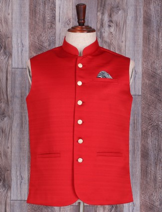 Red plain cotton silk waistcoat
