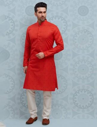 Red printed cotton full sleeeves kurta suit
