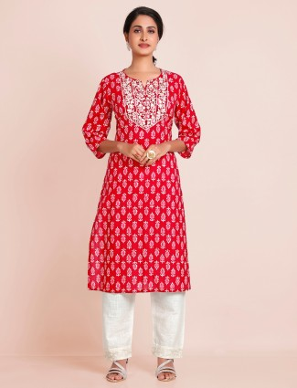 Red printed cotton punjabi style pant suit for festives