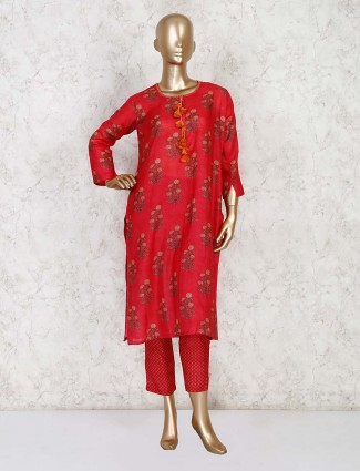 Red printed cotton quarter sleeves pant style kurti set