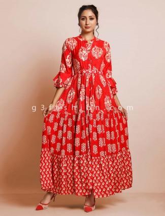 Red printed designer cotton kurti