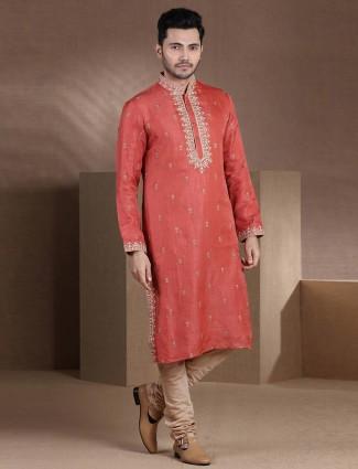 Red raw silk mens kurta pajama for festive