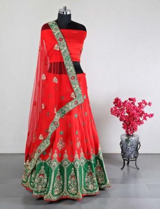 Red raw silk wedding wear lehenga choli