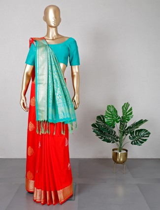 Red semi silk saree for wedding days