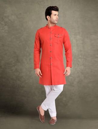 Red solid cotton festive kurta suit
