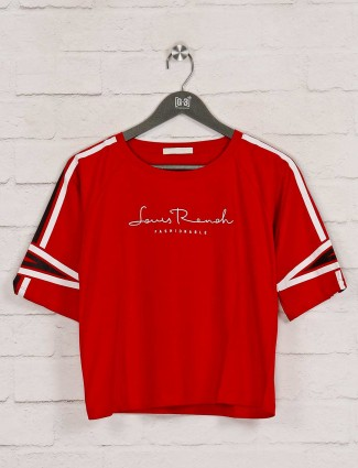 Red solid cotton round neck top