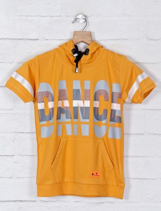 Red Sound yellow cotton casual t-shirt
