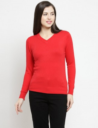 Red v neckline casual top in knitted