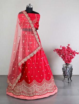 Red velet wedding lehenga choli for women