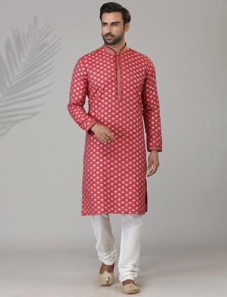 Red zari work cotton silk kurta suit