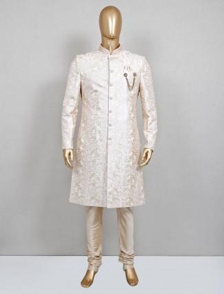 Refined thread woven silk sherwani in pink