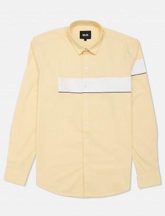 Relay cotton casual shirt in lemon yellow