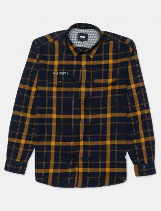 Relay mustard yellow checks patch pocket shirt