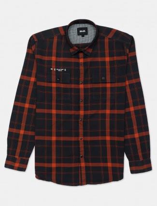 Relay orange checks full sleeves shirt