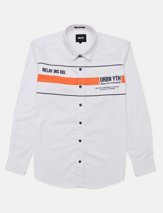 Relay printed white cotton shirt