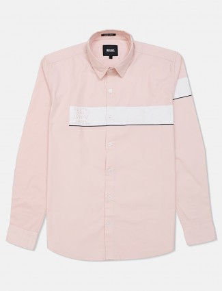 Relay solid pink cotton shirt for mens