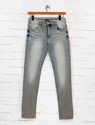 Rexstraut grey hue washed effect denim jeans for men
