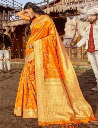 Rich and classy gold banarasi wedding wear saree