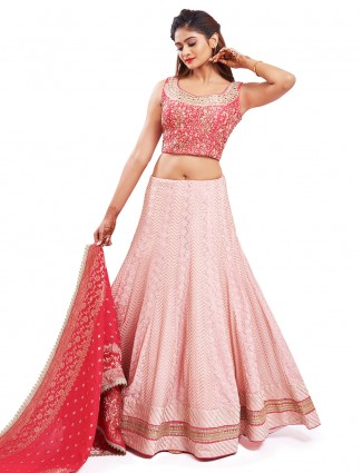 Rich baby pink georgette wedding wear lehenga choli
