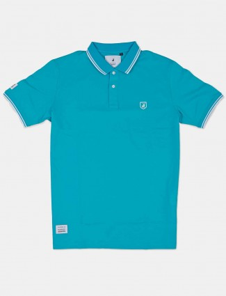 River Blue aqua solid slim fit t-shirt