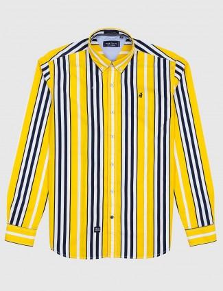River Blue bright yellow stripe cotton shirt