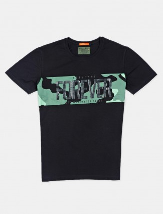 River Blue casual wear black printed mens t-shirt