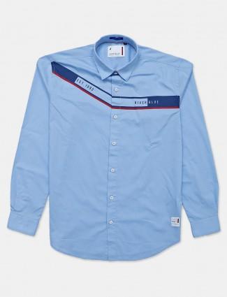 River Blue casual wear blue printed shirt