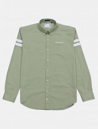 River Blue casual wear light green solid shirt
