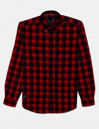 River Blue checks cotton shirt in red