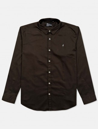River blue coffee brown solid cotton shirt