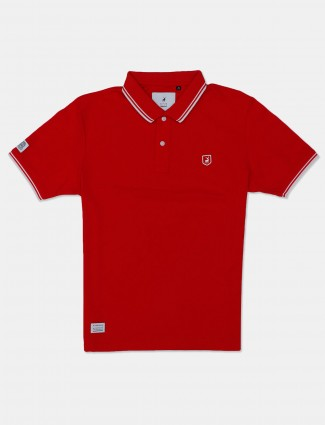 River Blue cotton red solid polo t-shirt