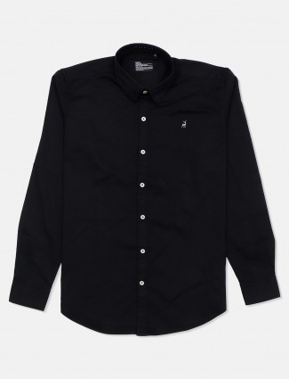 River Blue full sleeves black solid casual shirt